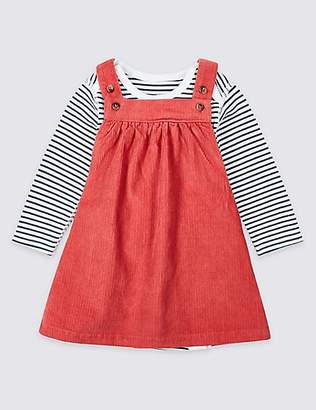 Marks and Spencer 2 Piece Pure Cotton Cord Pinny Dress & Bodysuit