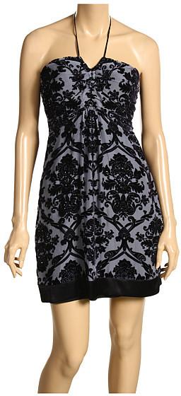 Hale Bob - Velvet Burnout Sexy Halter Dress (Black)