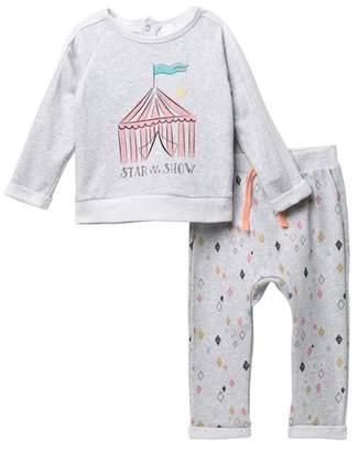 Petit Lem Big Top Pullover & Knit Pants Set (Baby Girls)