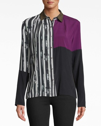 Nicole Miller Up And Up Stripe Boyfriend Blouse