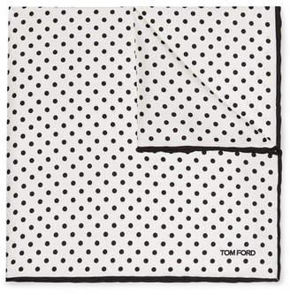 Tom Ford Polka-dot Silk-twill Pocket Square - White