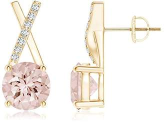 Xo Angara.com Black Friday - Solitaire Round Morganite Stud Earrings with Diamond Accents in 14K Yellow Gold (6mm Morganite)