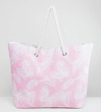 South Beach Pink Leaf Print Beach Bag