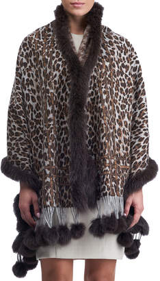 Gorski Double Face Cashmere Leopard-Print Stole w/ Fox Fur Trim