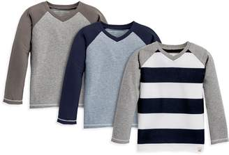 Burt's Bees Baseball Long Sleeve V-Neck Organic Toddler Boys Tees 3-Pack