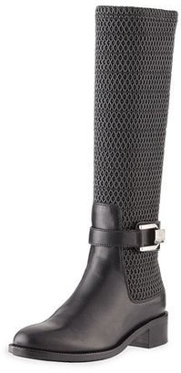 Aquatalia Odilia Weatherproof Leather Riding Boot, Black $390 thestylecure.com