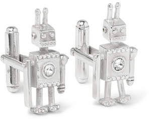 Prada Robot Silver Crystal Cufflinks