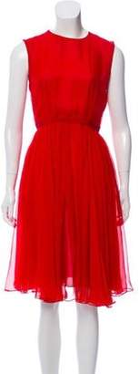 Giambattista Valli Silk Pleated Dress Red Silk Pleated Dress