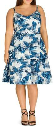City Chic Plus Blue Hawaii Piped Tropical-Print Dress