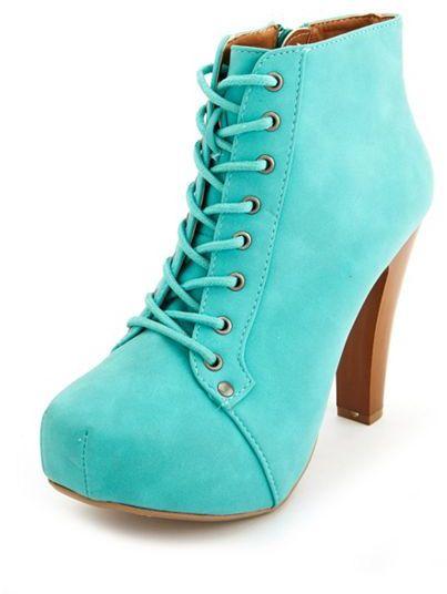 Charlotte Russe Lace-Up Platform Heel Bootie