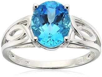 Sterling Ribbon Swiss-Blue-Topaz Ring