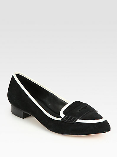Alice + Olivia Madison Suede and Leather Loafers
