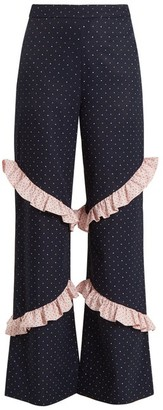 Huishan Zhang - Elisa High Rise Ruffle Trimmed Trousers - Womens - Blue Multi