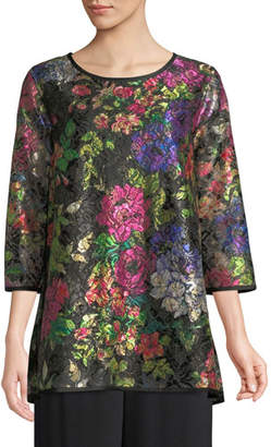 Caroline Rose Midnight Garden 3/4-Sleeve Shimmer Floral-Print Lace Tunic w/ Tank Liner, Petite