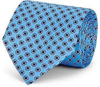 Barneys New York Men's Medallion-Print Silk Necktie - Lt. Blue