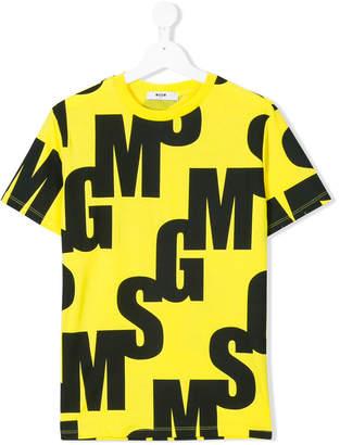 MSGM monogram print T-shirt