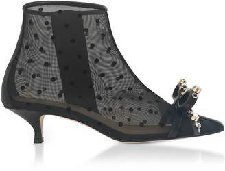 RED Valentino Polka-dots Mesh And Leather Mid-heel Ankle Boots