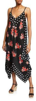 Tolani Drew Floral & Dot Print Silk Handkerchief Dress