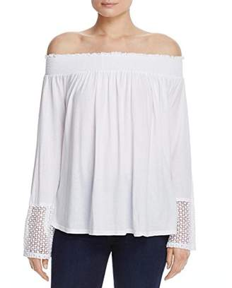 Three Dots Women's Trellis Lace Peasant Top