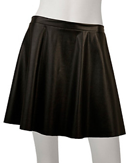 Amy Byer A Byer A. Byer Juniors' Faux Leather Circle Skirt