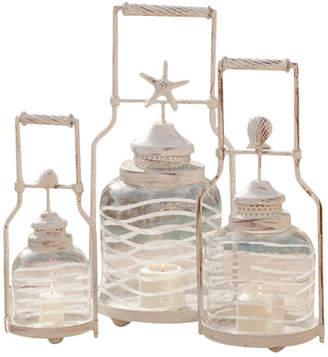 Cape Craftsmen Frosted Globe Shell Lantern Set