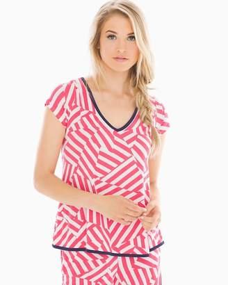 Cool Nights Short Sleeve Tulip Pajama Top Flag Stripe Rouge