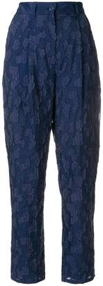 Emporio Armani lace appliqué cropped trousers