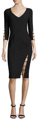 Black Halo 3/4-Sleeve Cutout Sheath Dress, Black $345 thestylecure.com