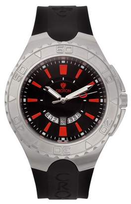 "Croton Men's ""Super C"" Quartz Watch with Black Dial & Red Markers & Silicon Strap"