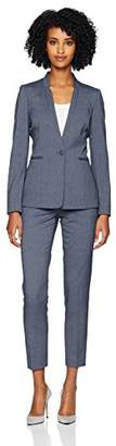 Tahari by Arthur S. Levine Women's 1 Button Rounded Star Collar Pant Suit