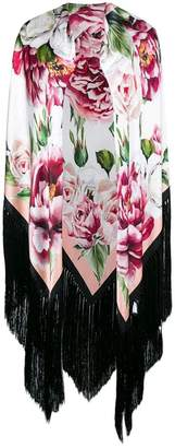Dolce & Gabbana oversized floral fringed scarf