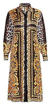 Versace Women's Silk Twill Belted Dress