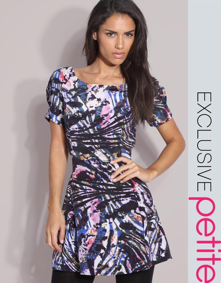 ASOS PETITE Exclusive Digital Print Skater Dress