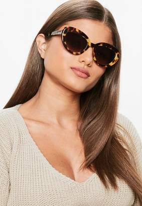Missguided Brown Tortoise Shell Thick Frame Sunglasses