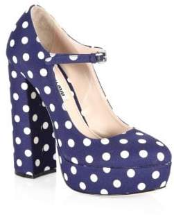 Miu Miu Polka Dot Platform Mary Jane Pumps