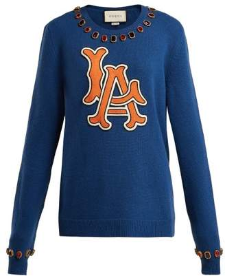 Gucci La Dodgers Embroidered Wool Sweater - Womens - Navy Multi