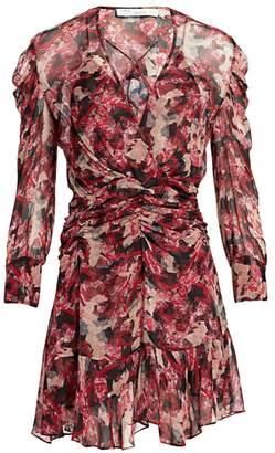 IRO Wick Long-Sleeve Ruched Flounce Dress