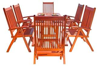 Vifah Malibu Eco-Friendly 7-Piece Wood Outdoor Dining Set with Foldable Arm Chairs - Brown