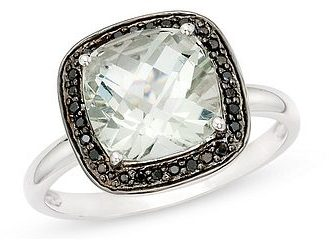 3 1/10 Carat Green Amethyst and Black Diamond 14K White Gold Ring