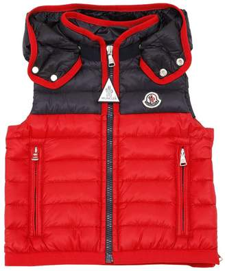 Moncler Two Tone Hooded Nylon Down Vest