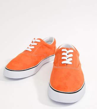 Asos DESIGN Wide Fit oxford plimsolls in orange faux suede