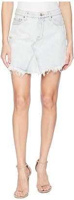 7 For All Mankind Scallop Frayed Hem Skirt in Desert Sun Bleached 6 Women's Skirt