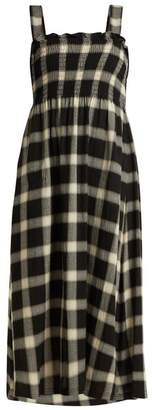 MM6 MAISON MARGIELA Smocked Checked Twill Dress - Womens - Black White