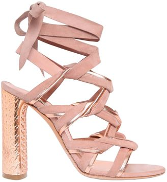 100mm Suede & Metallic Leather Sandals $890 thestylecure.com