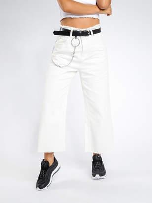 Paige Lulu & Rose Wide Leg Jeans in White Denim