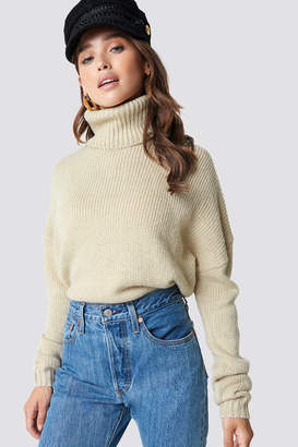 NA-KD Na Kd Folded Oversize Short Knitted Sweater Beige