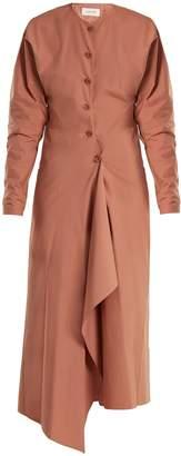 Asymmetric-hem cotton-poplin dress