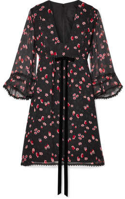 Anna Sui Tossed Tulips Printed Crinkled Silk-chiffon Mini Dress - Black