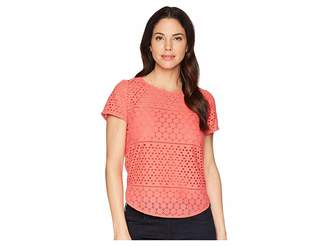 Joules Nadine Broderie Front/Jersey Back Top Women's T Shirt