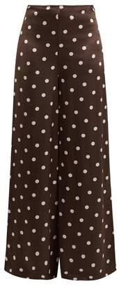 Ganni Cameron Polka Dot Wide Leg Trousers - Womens - Brown Print